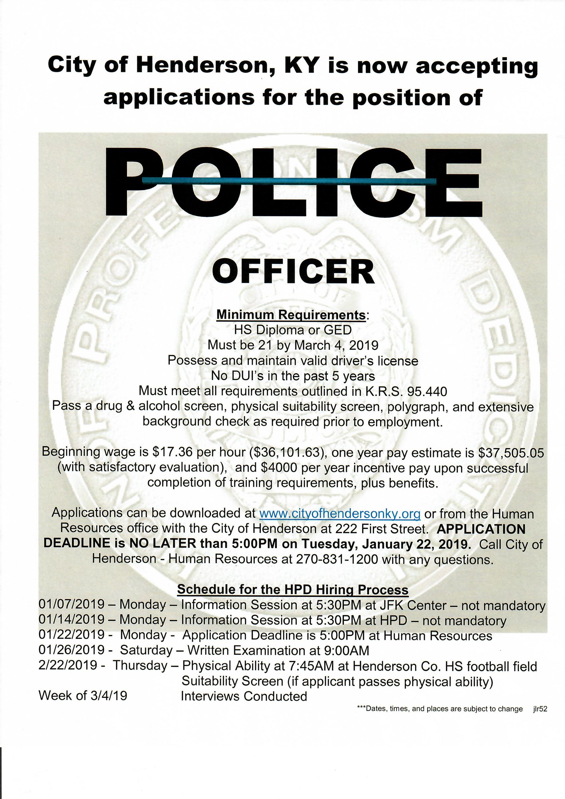 Now Hiring Police Officers